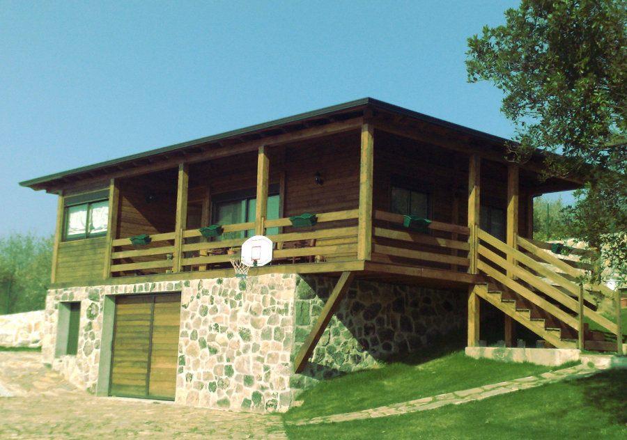 De madera deck de madera de eucaliptu de madera set - Casas de piedra y madera ...