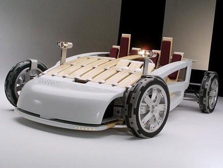 Un auto alternativo hecho de bambú