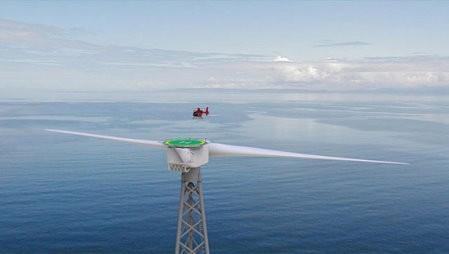 Turbina gigante con helipuerto en la parte superior