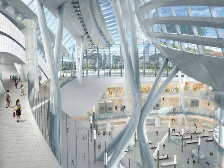 Estación de trenes ecológica con techo para circular peatones3