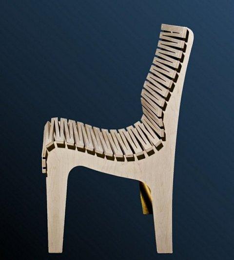 Zig Zag, la silla hecha con tres partes de madera contrachapada