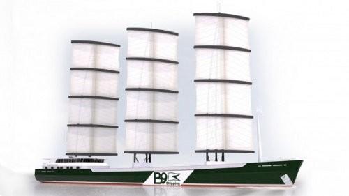 B9 Shipping presenta un moderno barco de velas llamado DynaRig