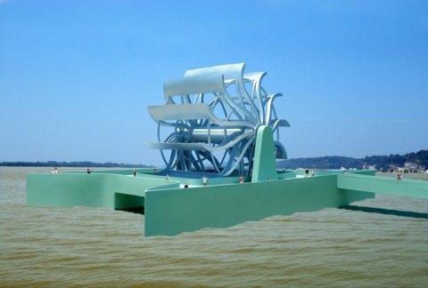 Turbina gigante de río un gran generador de energía hidroeléctrica