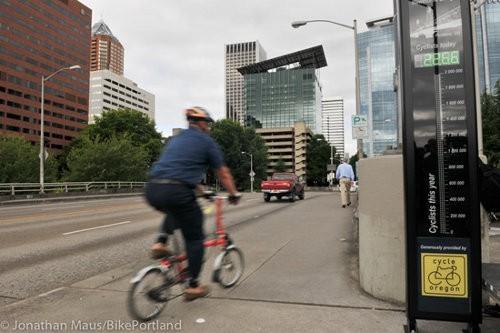 Portland la primer ciudad estadounidense con contador de bicicletas