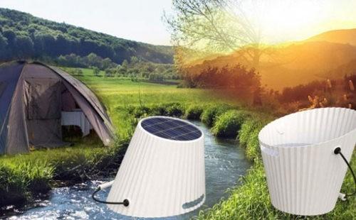 Este balde usa energía solar para calentar agua e iluminarnos