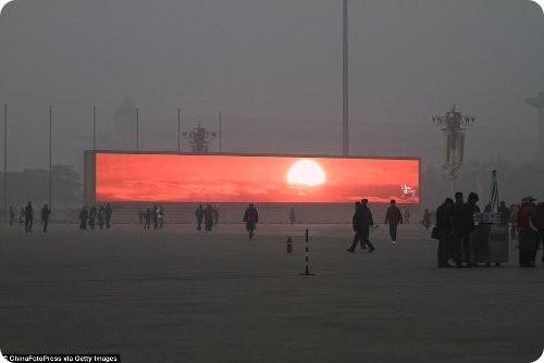 China comienza a emitir la puesta del Sol en pantallas gigantes debido a la contaminación