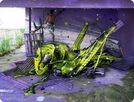 Artista convierte basura en geniales esculturas de animales