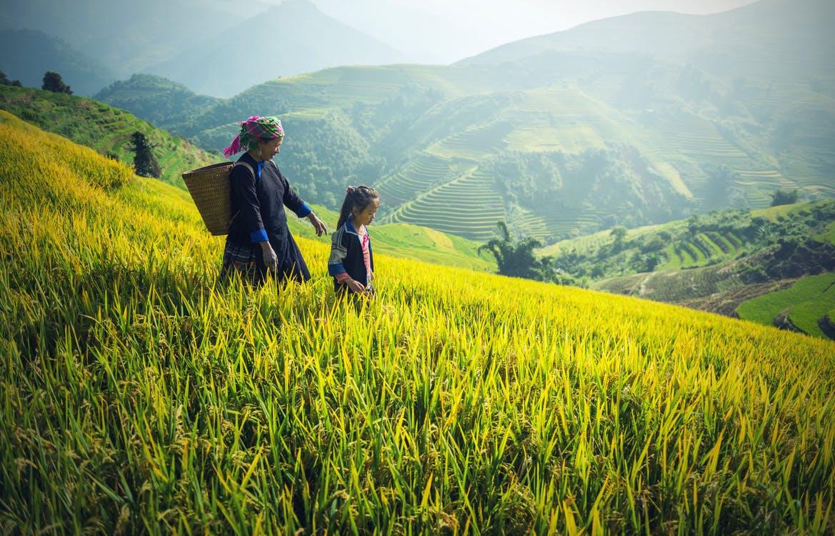 Madre e hija recorren un campo de cultivo, en el fondo se ve un hermoso paisaje natural de montaña