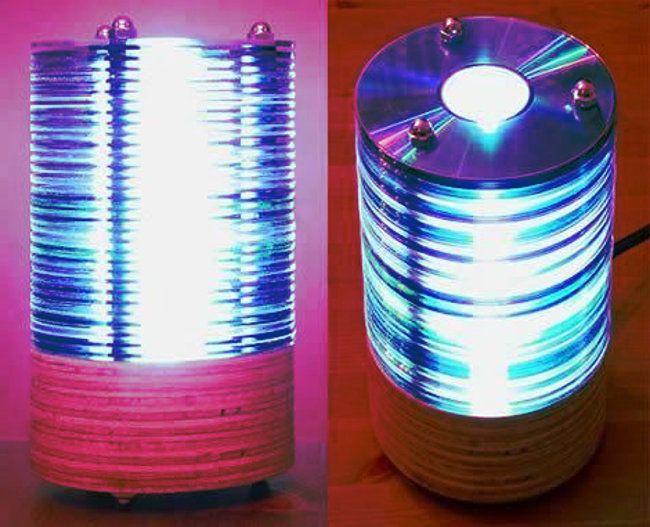 lamparas de luz realizadas con cds y dvds